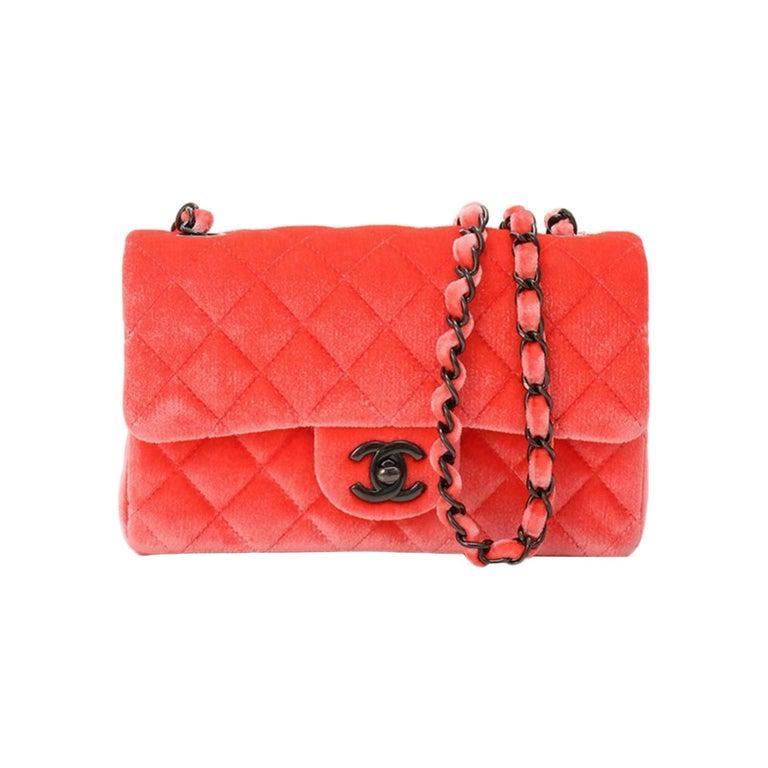 Chanel 2014 Coral Velvet Small Medium So Black CC Classic Flap For Sale