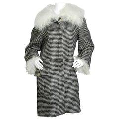 Chanel 2014 Paris-Dallas Mohair Coat W/Detachable Shearling Cuffs & Collar FR50