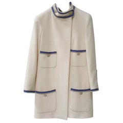 Chanel 2014 Resort Summer Runway Ecru Ivory Blue Trim Military Wool Coat