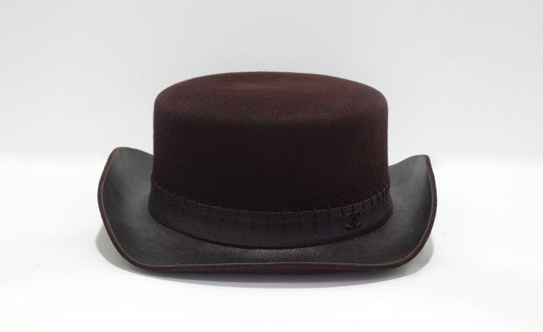 Black Chanel 2014 Runway Brown Western Hat  For Sale