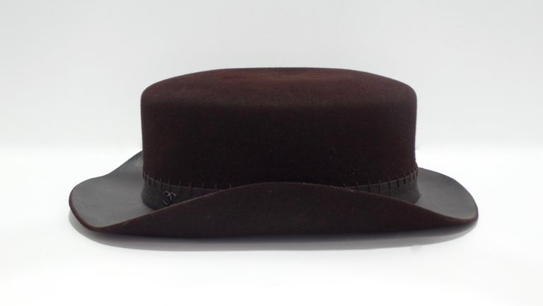 Chanel 2014 Runway Brown Western Hat  In Good Condition For Sale In Scottsdale, AZ