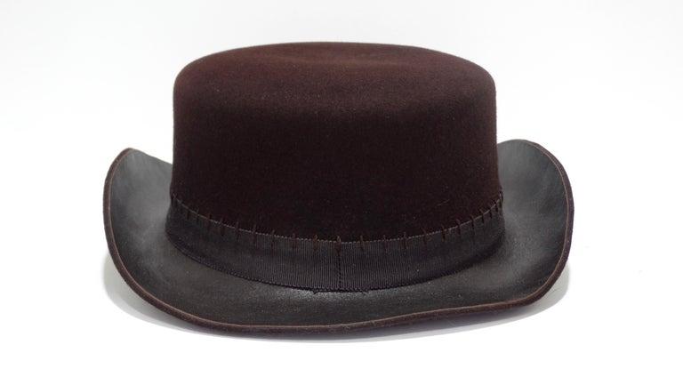 Women's or Men's Chanel 2014 Runway Brown Western Hat  For Sale