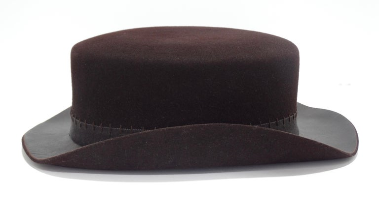 Chanel 2014 Runway Brown Western Hat  For Sale 1