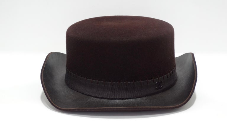 Chanel 2014 Runway Brown Western Hat  For Sale 2