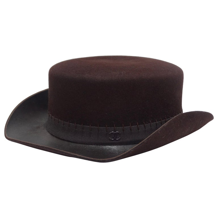 Chanel 2014 Runway Brown Western Hat  For Sale