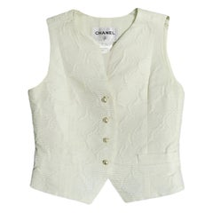 Chanel 2014C Cream Silk Vest w/ Pearl CC Buttons FR38