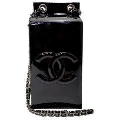Chanel 2015 Black Patent Leather Milk Carton Bag