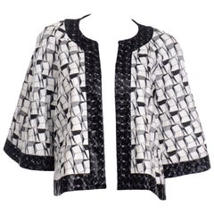 Chanel 2015 Dubai Resort Runway Collection Black & White Open Front Jacket