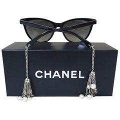 Chanel 2015 Pearl Chaine Polarized Cat Eye Eyewear Sunglases