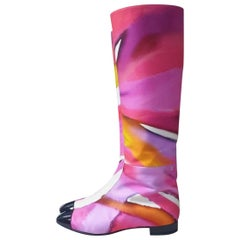 Chanel 2015 Spring-Summer Multicolour Fabric Boots