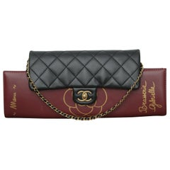 Chanel 2015s Burgundy Gabrielle Brasserie Menu Flap Clutch