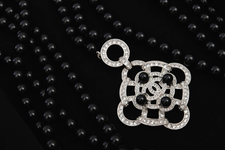 Chanel 2016 Black Beaded 5 Strand Necklace w/ Crystal CC Camellia For Sale 7