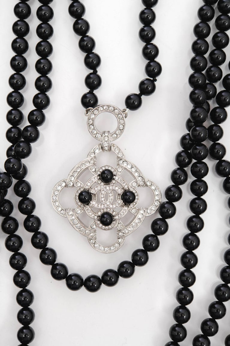 Women's Chanel 2016 Black Beaded 5 Strand Necklace w/ Crystal CC Camellia For Sale