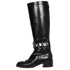 Chanel 2016 Lace-Up Cutout CC Knee-High Boots sz 38.5