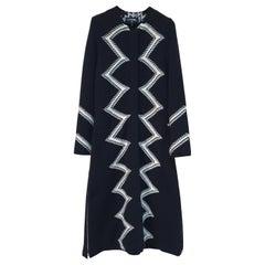 Chanel 2016 RTW Black Zig Zag Wool  Dress Coat
