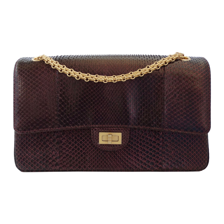 Chanel 2017/2018 Iridescent Purple Python Double Flap Bag