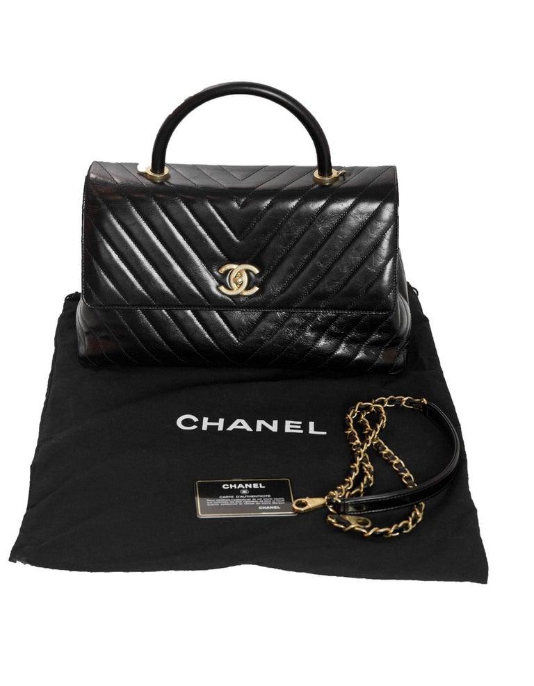 Chanel 2017 Black Distressed Calfskin Leather Medium Coco