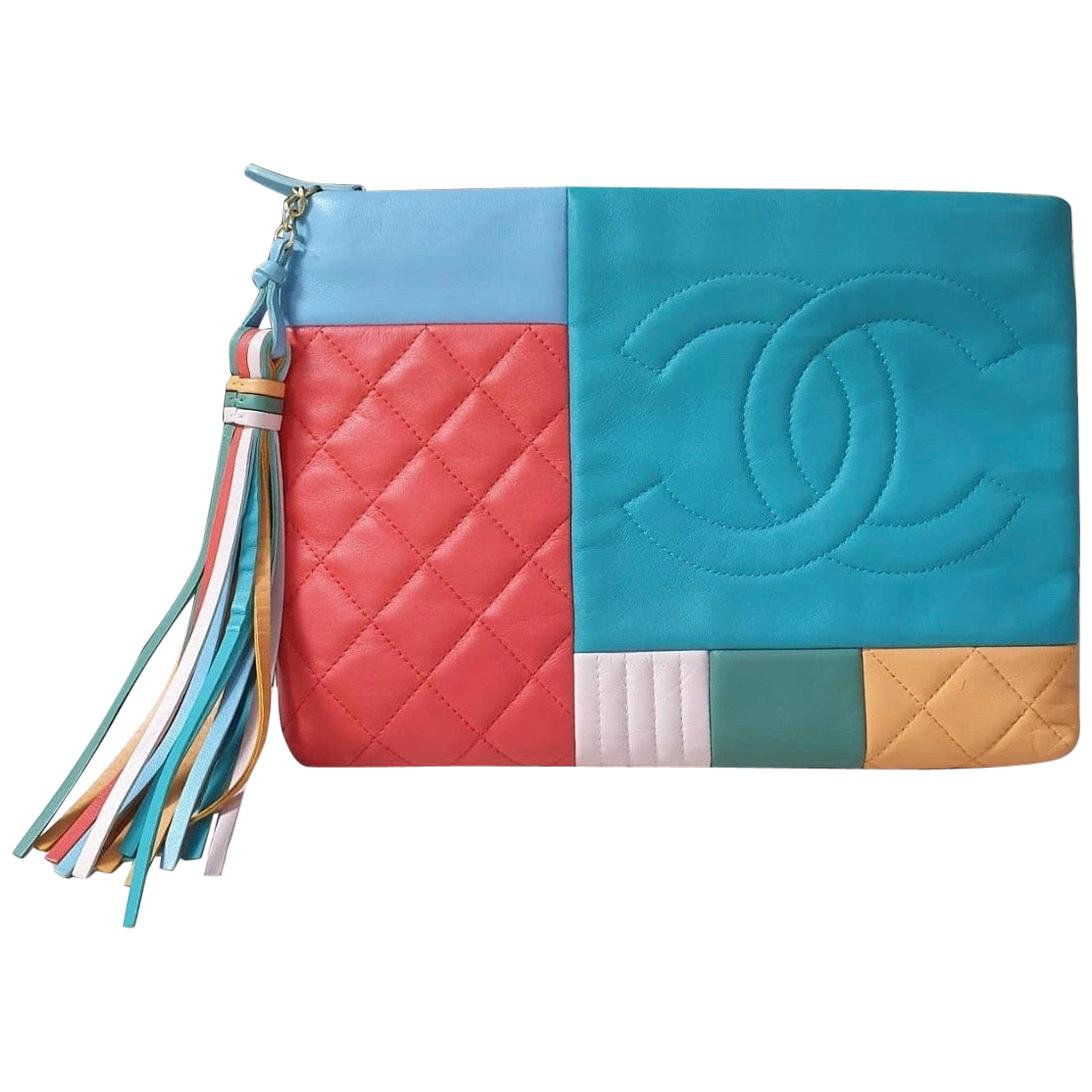 Chanel 2017 Large Colorblock O-case Orange Blue Multicolor Lambskin Leather Clut