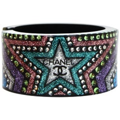 Chanel 2017 Multicolor Resin Glitter Star Cuff Bracelet