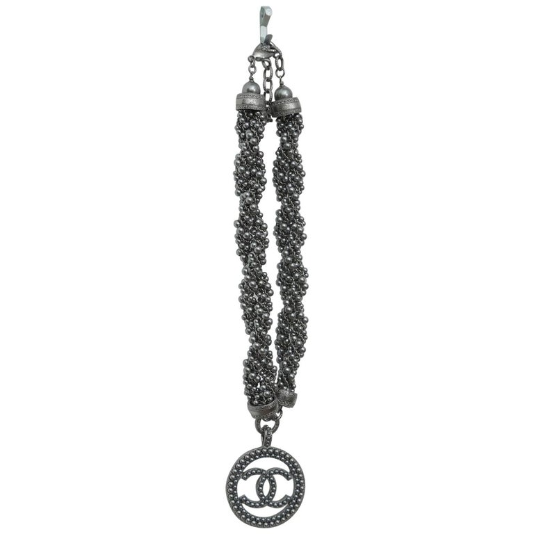 Chanel 2017 Pewter Ruthenium Beaded Choker with Cc Medallion Necklace For Sale