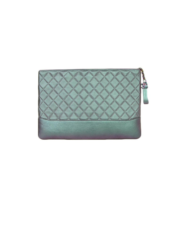 Gray Chanel 2017 Purple Iridescent Lambskin Quilted Large Gabrielle O-Case Pouch Bag For Sale