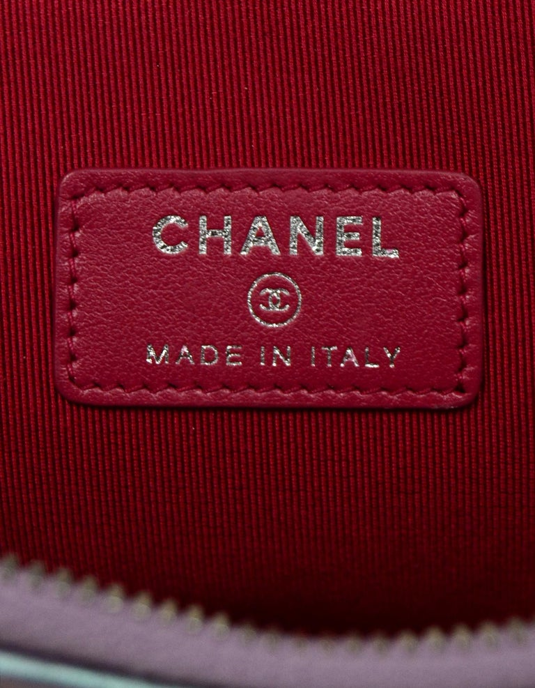Chanel 2017 Purple Iridescent Lambskin Quilted Large Gabrielle O-Case Pouch Bag For Sale 2