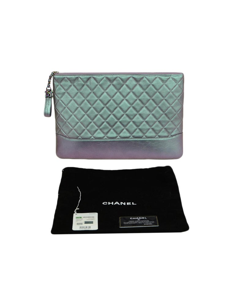 Chanel 2017 Purple Iridescent Lambskin Quilted Large Gabrielle O-Case Pouch Bag For Sale 4
