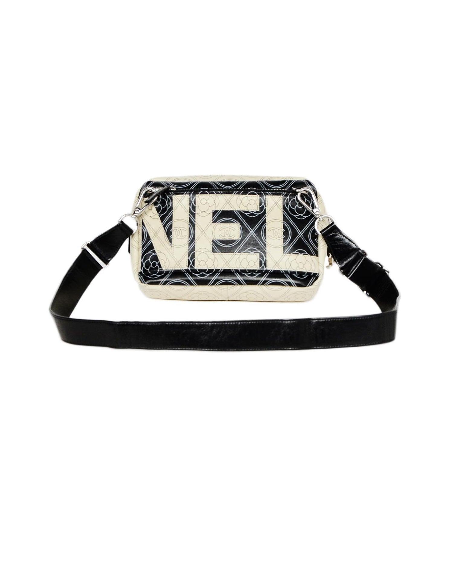 ba60a3fc5 Chanel 2018 Beige/Black Canvas/Leather CC Camelia Printed Belt Bag/Crossbody  For Sale at 1stdibs