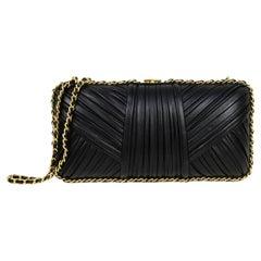 Chanel 2018 Black Pleated Chain Around Clutch Bag w/ Crossbody Strap rt. $5,000