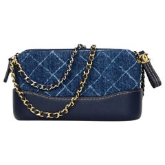ee3f03e13d9d Chanel 2018 Blue Denim Quilted Small Gabrielle Clutch with Chain Crossbody  Bag