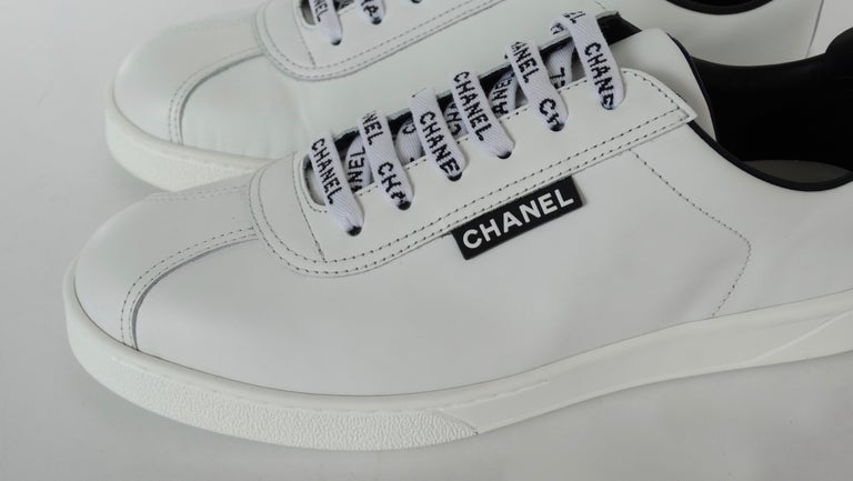 Chanel 2018 'Chanel' Lace-Up White Leather Sneakers  In New Condition For Sale In Scottsdale, AZ
