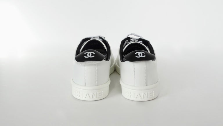 Chanel 2018 'Chanel' Lace-Up White Leather Sneakers  For Sale 3