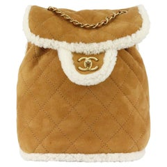 Chanel 2018 Coco Neige Shearling Trimmed Quilted Suede Backpack
