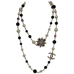 Chanel 2018 Faux Pearl & Black Bead CC Maltese Cross Necklace w/ Crystals