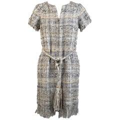 Chanel 2018 Gray Lesage Tweed Zip Up Dress Fringe Trim Size 34