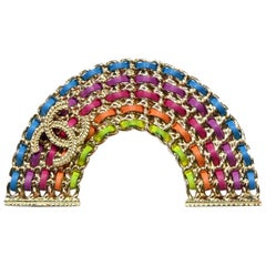 Chanel 2018 Leather Laced Chain Rainbow CC Brooch Pin w. Box & Pouch
