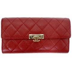 Chanel 2018 Lipstick Red Gussest Flap Wallet