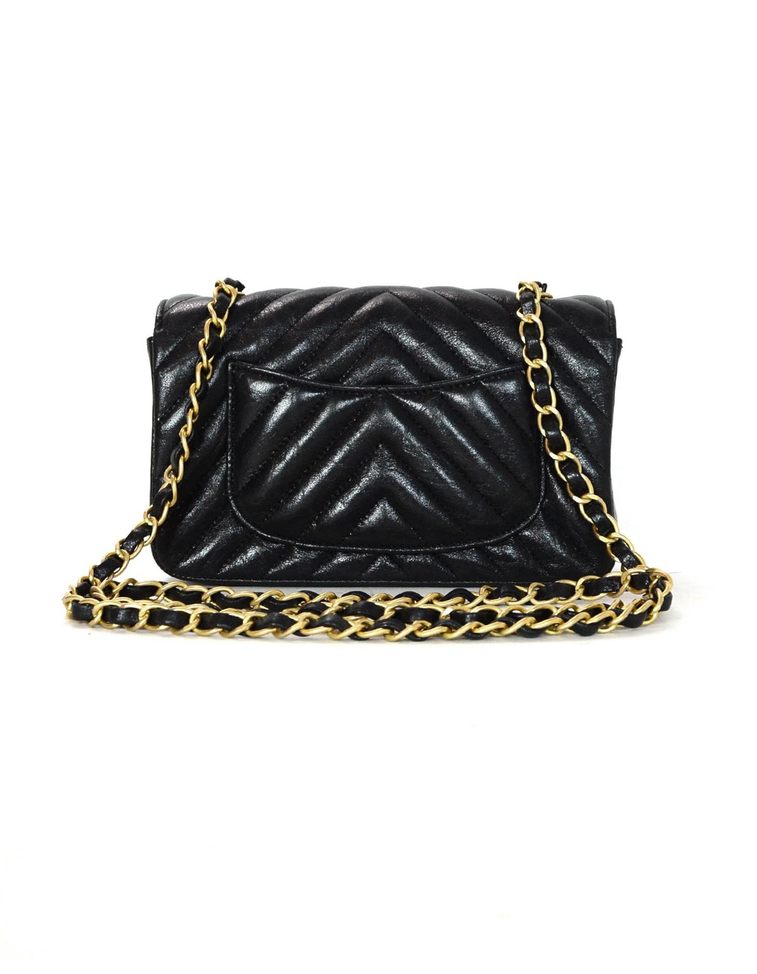 652029018761 Chanel 2018 Metallic Black Chevron Quilted Rectangular Mini Flap Crossbody  Bag For Sale at 1stdibs