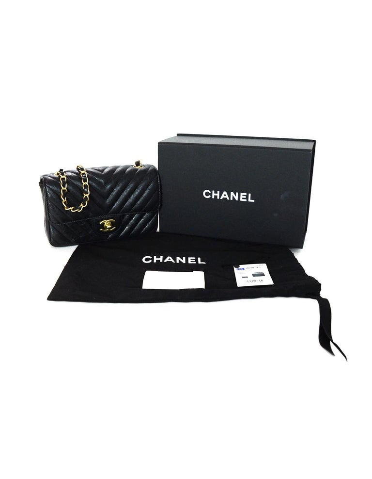 0f64806c1d08 Chanel 2018 Metallic Black Chevron Quilted Rectangular Mini Flap Crossbody  Bag For Sale 6
