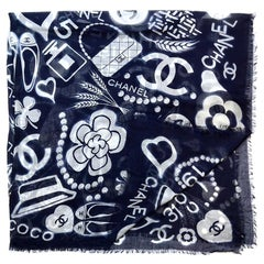 "Chanel 2019 54"" Navy/White Silk & Cashmere CC Iconic Motif Square Shawl Scarf"