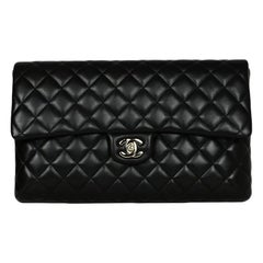 Chanel 2019 Black Lambskin Leather Quilted Classic Flap Clutch Bag