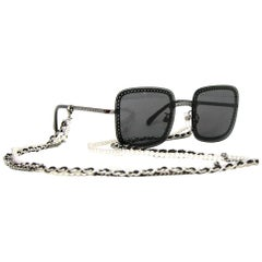 Chanel 2019 Dark Silver/Grey Lens Sunglasses w/ Detachable Chain rt. $975