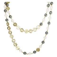 """Chanel 2019 Ivory Grey Faux Pearl Necklace with Cut-Out """"Chanel"""""""