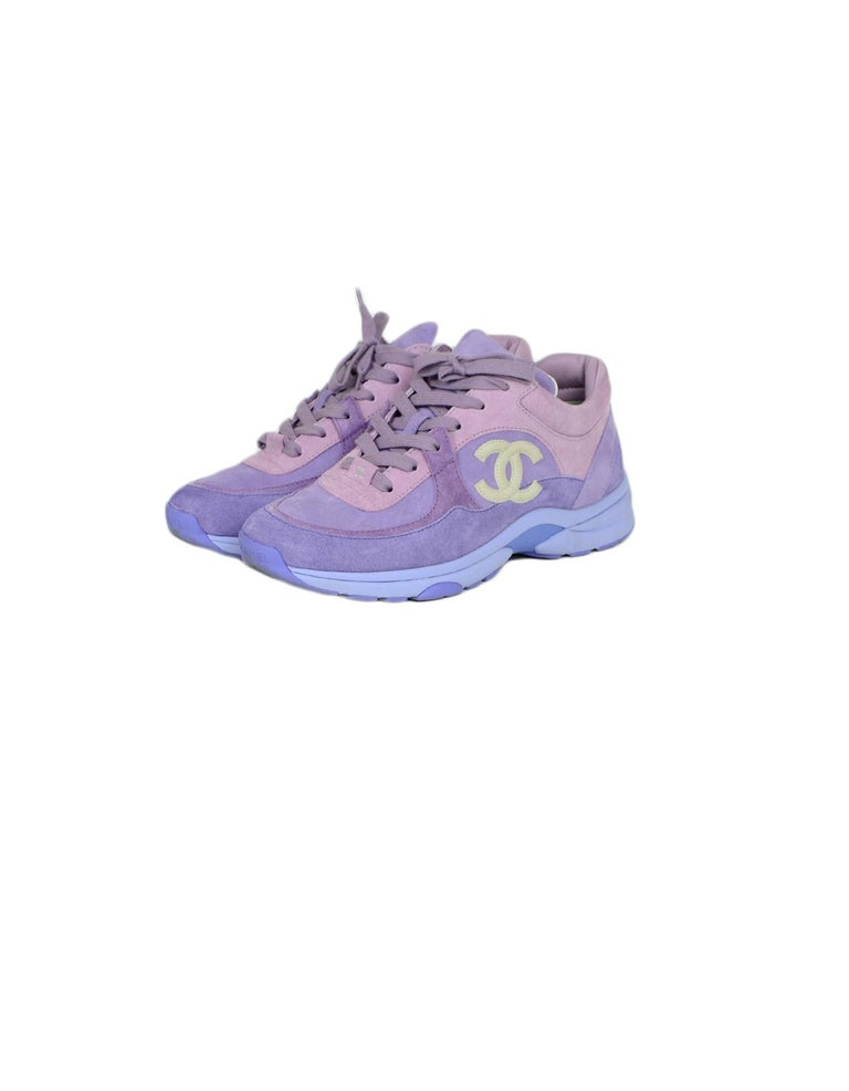 Chanel 2019 Purple Suede Calfskin Leather CC Trainers Sneakers sz 39  Made In: Italy Year of Production: 2019 Color: Purple Materials: Suede, calfskin leather Closure/Opening: Lace-up Overall Condition: Excellent pre-owned condition, with the