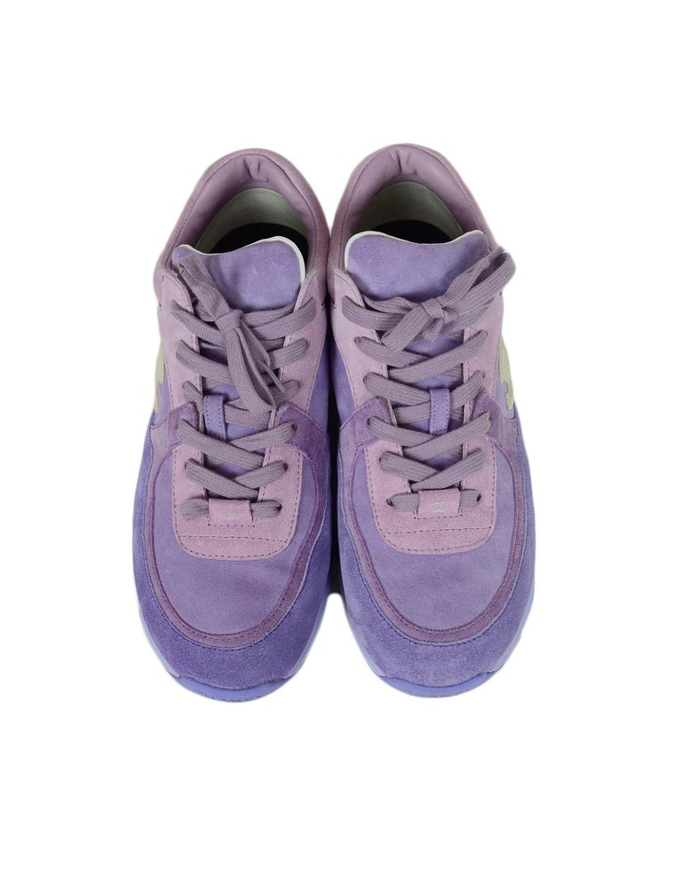 Women's Chanel 2019 Purple Suede Calfskin Leather CC Trainers Sneakers sz 39 For Sale