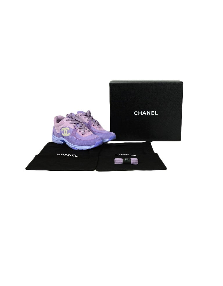 Chanel 2019 Purple Suede Calfskin Leather CC Trainers Sneakers sz 39 For Sale 2