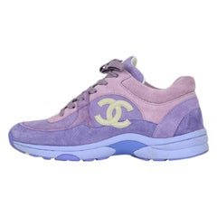 Chanel 2019 Purple Suede Calfskin Leather CC Trainers Sneakers sz 39