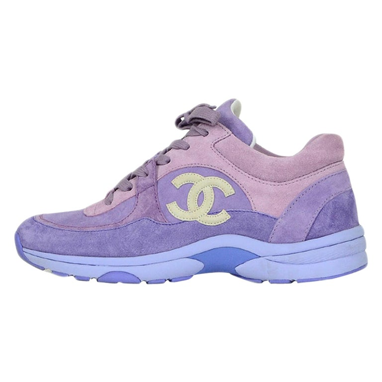 Chanel 2019 Purple Suede Calfskin Leather CC Trainers Sneakers sz 39 For Sale