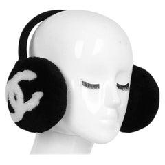 Chanel 2019 RARE Black/White Shearling & Cashmere CC Ear Muffs