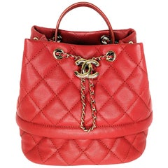Chanel 2019 Red Caviar Rolled Up Bucket Drawstring Bag